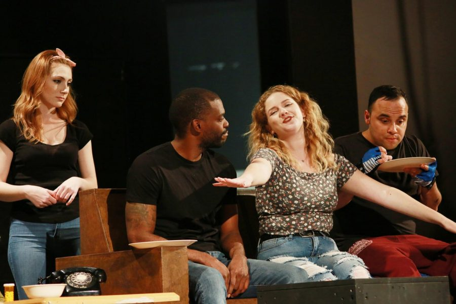 Cast members (left to right) Rita Chavdarian as Bananas Shaughnessy, Vaughn Page as Billy Einhorn, Allie Barnum as Bunny Flingus, and Jared Gaxiola as Artie Shaugnessy rehearse the tragicomedy,