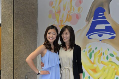 Haruka Kanemura poses for a photo with her mother after the mural reveal ceremony ended. Photo credit: Faith Petrie