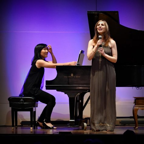 Blind mezzo-soprano Laurie Rubin sings at Marsee Auditorium, accompanied by her partner Jennifer Taira, on Friday, Spet. 21, 2018. (Jack Kan / Union) Photo credit: Jack Kan