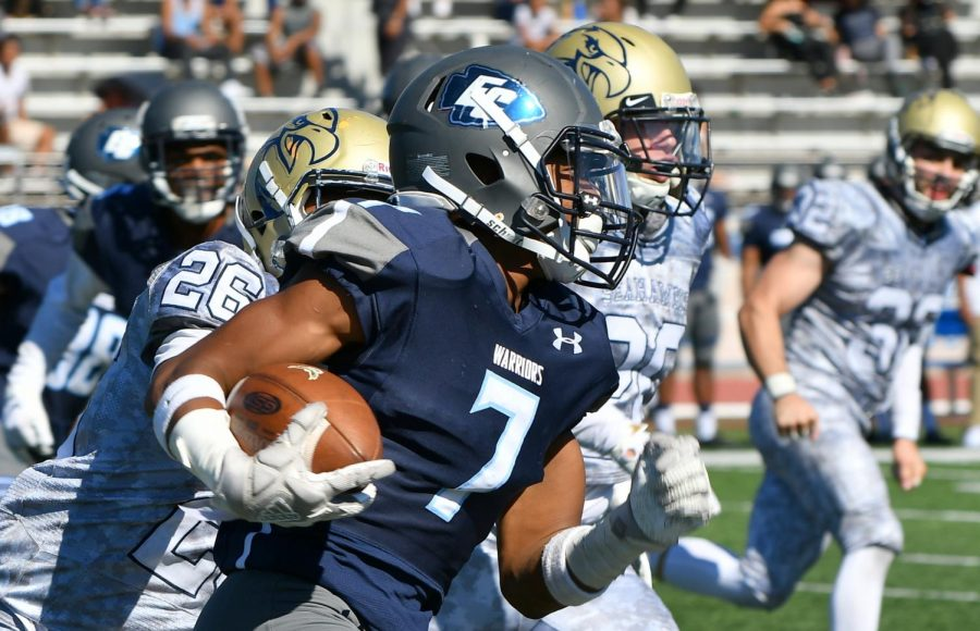 The Warriors defeated the LA Harbor Seahawks, 49-24 at Murdock Stadium on Saturday, Sept. 15.