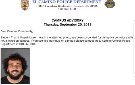 The campus advisory sent out Thursday, Sept. 17 showing Kazwini's name and photo.