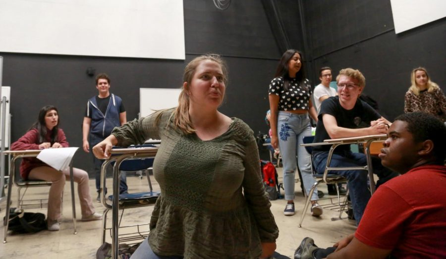 Claire Griswold, directer of This Is A Test. Rehearsals for the Fine Arts Spectacular, Sep. 25, 2018 in the Music Building. Photo credit: Mari Inagaki