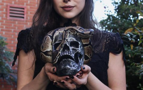 """""""I like the more darker stuff the macabre stuff, like something you see in a Tim Burton or Guillermo Del Toro film,"""" Bethany Caitlan Nicole, 27, film major. Photo credit: Kevin Caparoso"""