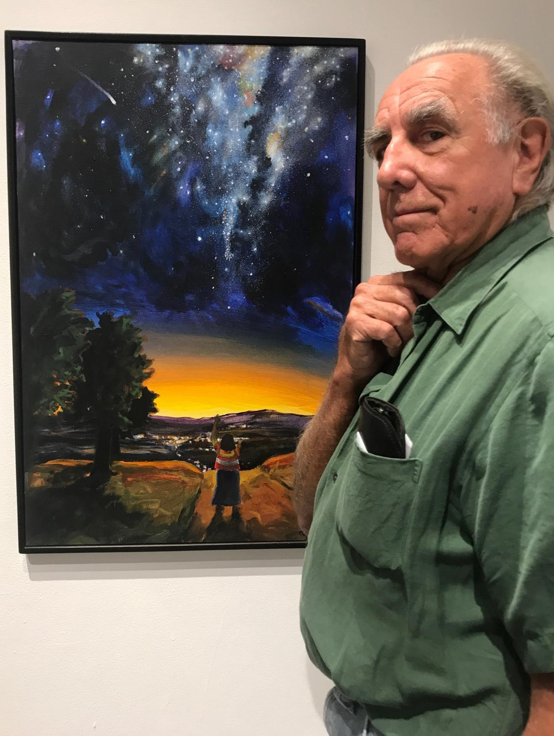 Raoul De la Sota, 81, in front of one of his favorite pieces in the art gallery, The Mexican and the Camino Photo credit: Alexa Kinoshita