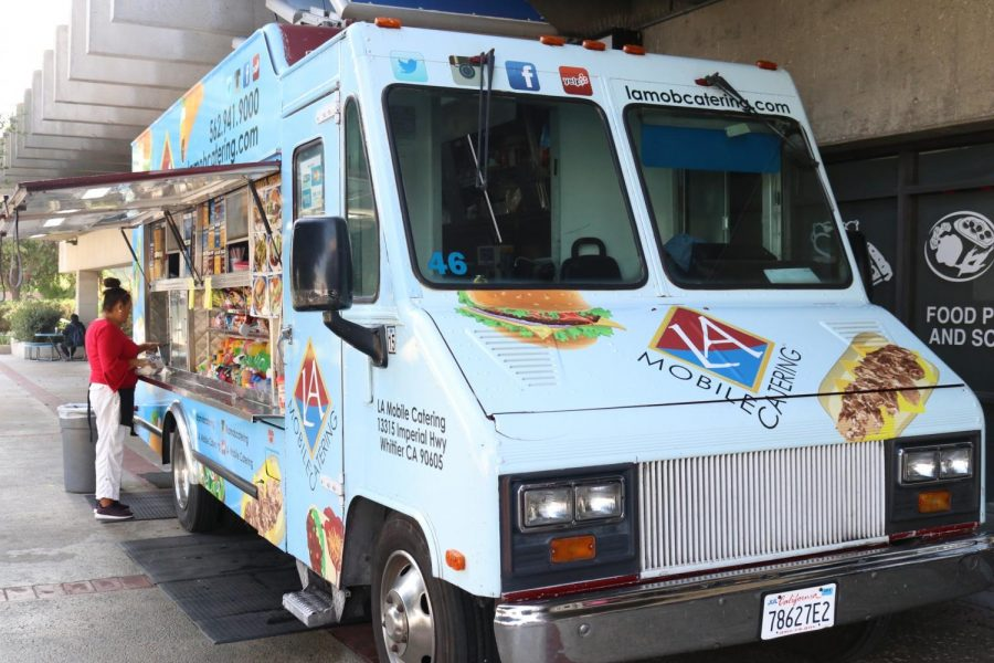 Serving Mexican American fast food to the El Camino College community, the LA Mobile Catering food truck is ready to serve customers. Photo credit: Omar Rashad
