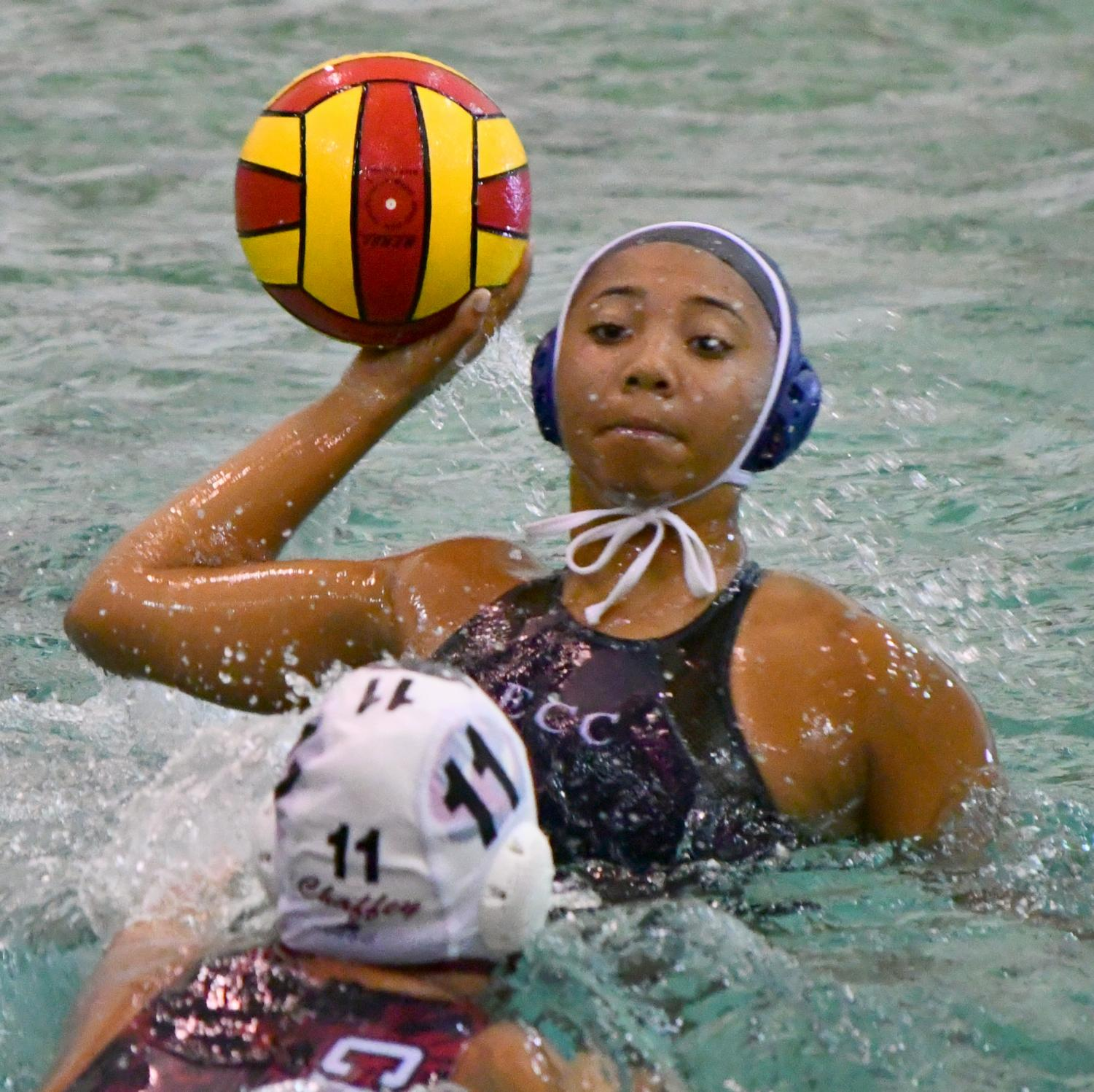 Sonni Garcia sets up to take a shot during the ECC vs Chaffey College water polo match at the ECC swimming pool on Monday, Oct. 8. Garcia scored 3 goals, but ECC lost the match 17-4. Photo credit: Jack Kan