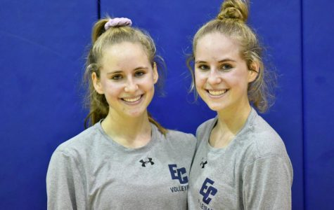 Caitlin (left) and Kelly Donatucci pose for a photo after EC defeats Rio Hondo 25-14, 25-17, and 25-13 in the volleyball game played on Wednesday, Oct. 24 in the South Gym.