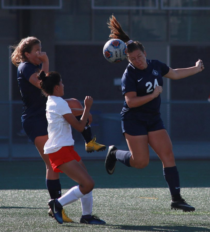 Ashley Hanna cuts the ball with a header for El Camino against Chaffey College at EC on Tuesday, Oct 23. Photo credit: Mari Inagaki