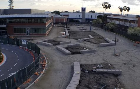 The dirt grounds and cement blocks of the upcoming Student Services Center on the north side of El Camino College. Feb. 20, 2019. Photo credit: Ernesto Sanchez