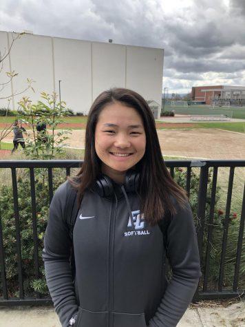 Mina Nakawake, 18, communication major, center fielder for the softball team