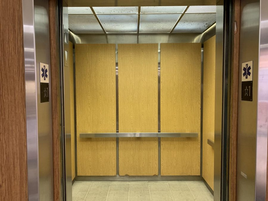 This elevator in the Art and Behavioral Science Building is one of El Camino College's older ones, said EC Chief of Police Michael Trevis. It does not have any cameras so police do not have any leads on the perpetrator behind the vandalism. March 22. Photo credit: Fernando Haro
