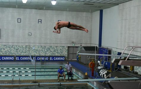 Ventura College diver Deon Crilly moments after jumping off the diving board at the South Coast Conference Diving Invitational being held at the EC Pool on Saturday, March 23. Photo credit: Jun Ueda