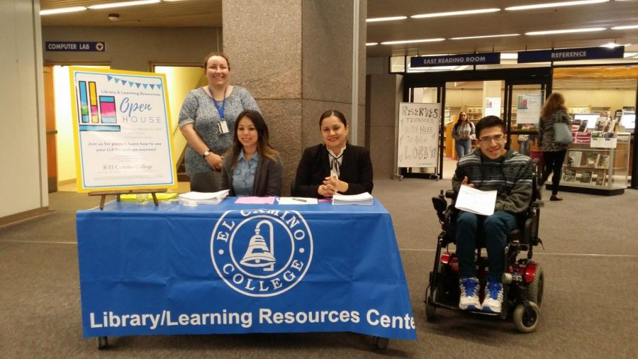 Left to right: Camila Jenkin, faculty outreach librarian; Cindy Lopez, library media technician; Mayra Ochoa, faculty PT librarian; and Kevin Inquanzo, 18, student; during the Library Open House. Feb. 26, 2019. Photo credit: Marina Krishmar