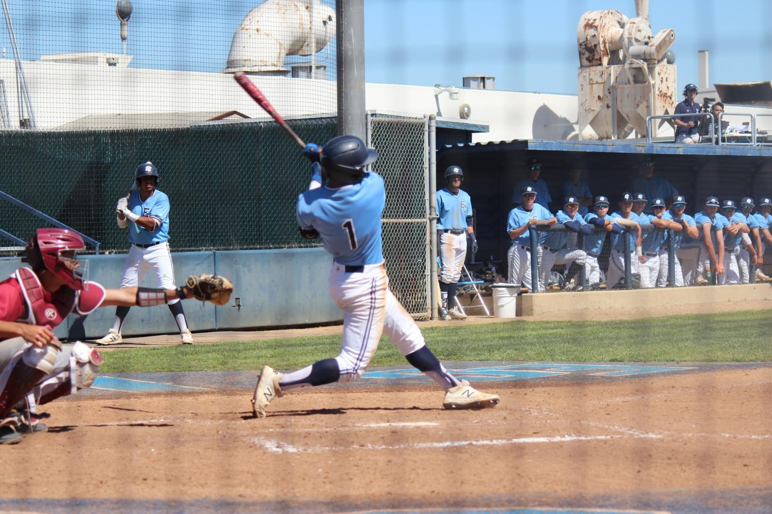Warriors infielder Taishi Nakawake (No. 1) swinging for the fences versus Pasadena City College on Saturday, March 16 at Warrior Field. The Warriors scored seven runs alone in the seventh inning. Photo credit: Kealoha Noguchi