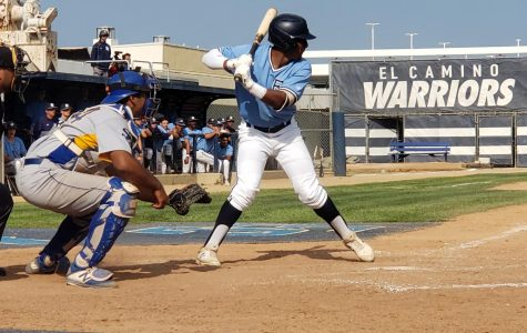 Warriors right fielder Logan Young bats during El Camino's game against LA Harbor on Friday, April 26, at Warrior Field. Young had no hits in four at-bats. Photo credit: David Rondthaler