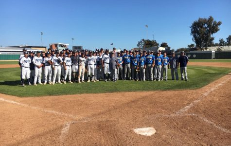 The El Camino Warriors and Fullerton Hornets baseball teams stand together following their game on Wednesday, April 17, at Warrior Field. The Warriors won the game 3-1 and improved their season record to 29-6. Photo credit: Melanie Chacon