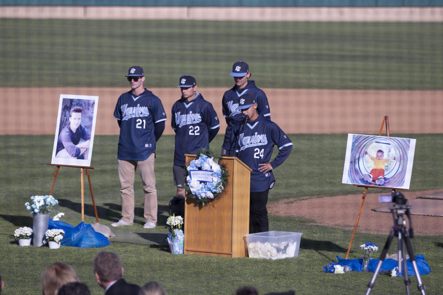 Joseph Brazil gives a speech at Sladen Mohl's memorial before Nathaniel Graves, Zach Findlay and Ty Conrad speak sentiments of their own. Sladen Mohl was the Warriors' starting catcher. Photo credit: Delesia Jackson