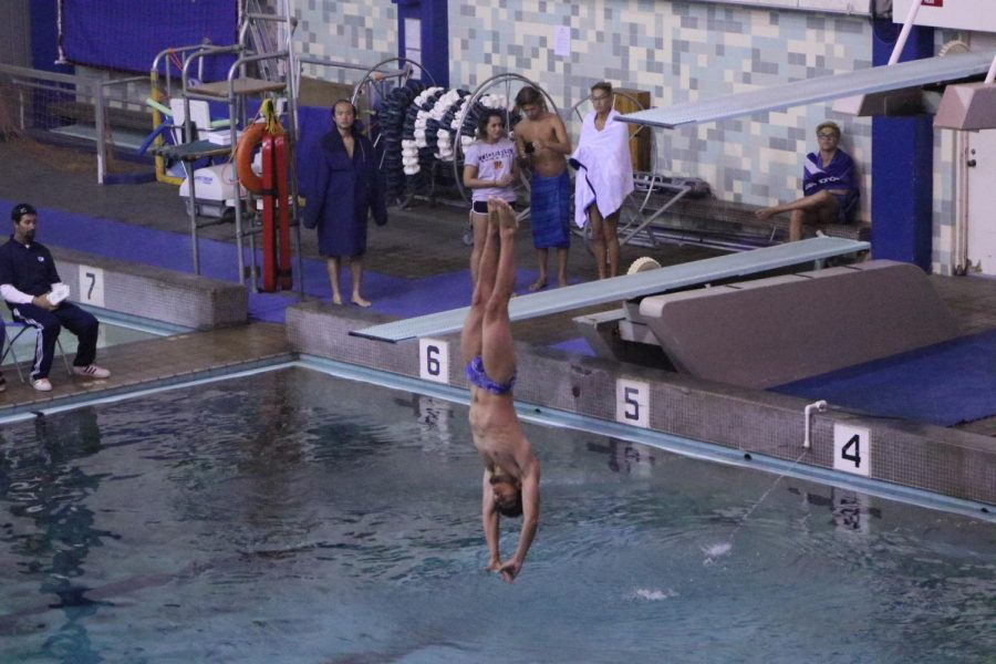 Tyler Trejo, 19, of the Warriors men's diving team warms up with an inward dive pike for the South Coast Conference Diving Championships at El Camino College on Friday, April 12. Photo credit: Rosemary Montalvo