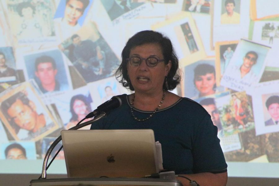 Pulitzer Prize-winning journalist Sonia Nazario shares the story of missing undocumented children on Thursday, May 2. Nazario says the 100 detention centers for undocumented children are running out of space. Photo credit: Rosemary Montalvo