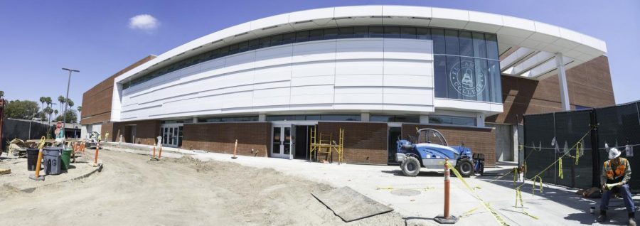 The new gymnasium at El Camino College undergoes construction on Wednesday, May 29. Construction was delayed after steel provider, Flores Steel, went bankrupt trying to expand their business. Photo credit: Jun Ueda
