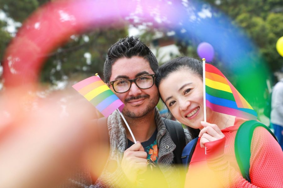 Don Agustin, left, and Karen Wong, right, celebrate El Camino College's first Pride Fest Tuesday, May 14. Photo credit: Mari Inagaki