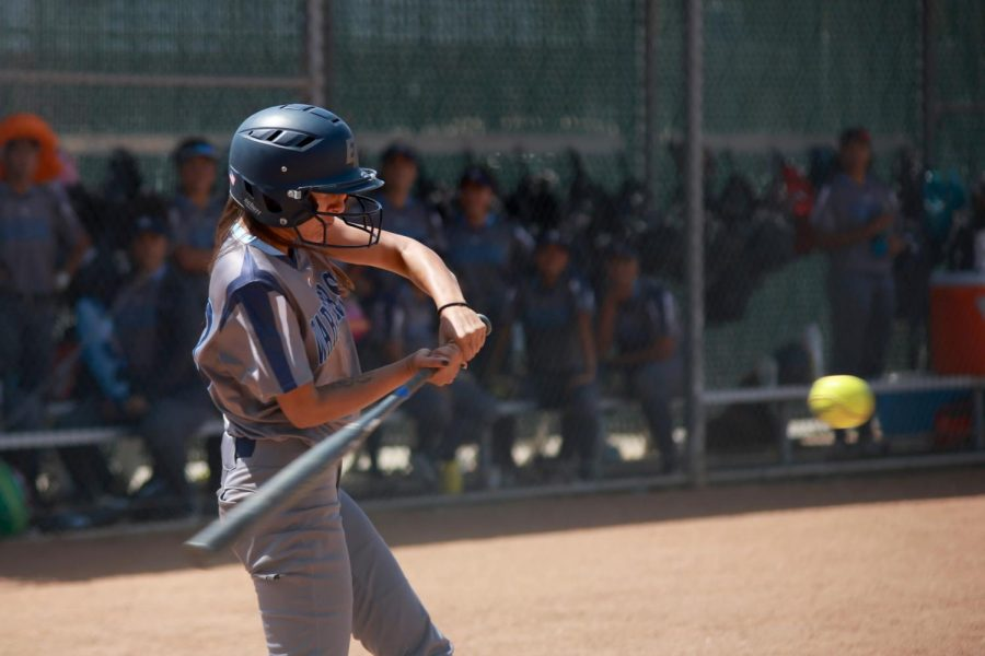 Warriors softball infielder Sidra Montoya swinging at a pitch during El Camino's Game 2 matchup against San Diego Mesa on Saturday, May 4, at El Camino College. The Olympians took the early lead but El Camino jumped ahead with two fifth inning runs. Photo credit: Mari Inagaki