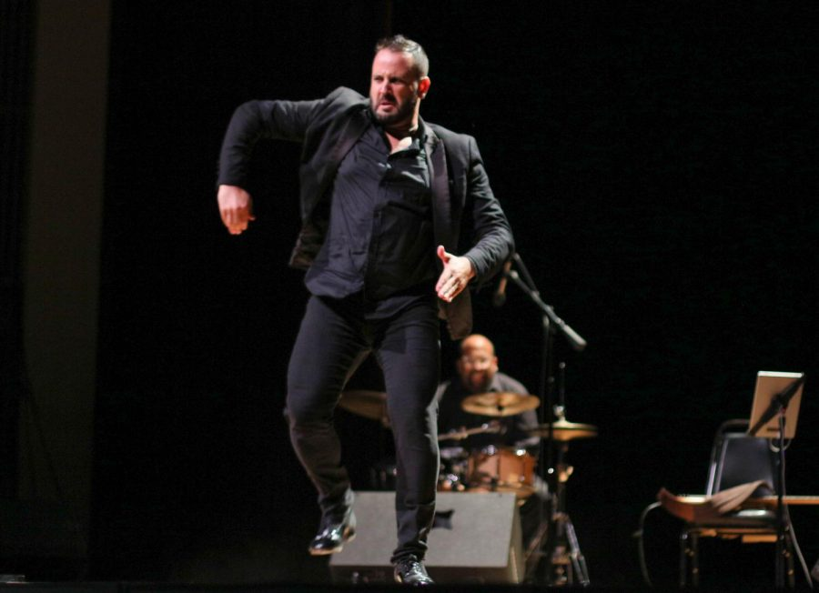 Manuel Gutierrez dances flamenco toward the end of Seffarine's performance in 'From Fez to Jerez' in ECC's Marsee Auditorium, Friday, Sept. 20. Gutierrez is a flamenco dancer and percussionist in Seffarine. Viridiana Flores/The Union Photo credit: Viridiana Flores