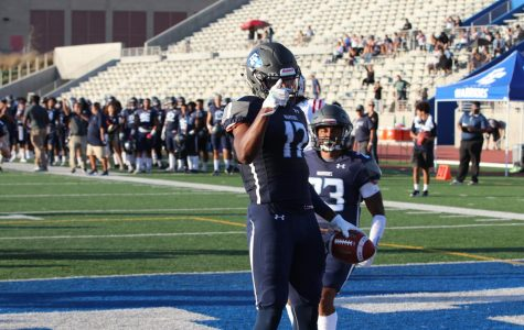 Wide receiver Taariq Johnson, of El Camino College, celebrates the first touchdown of the game, on Saturday, September 14, 2019. Alonso finished the game with two touchdowns. (David Alonso/ The Union) Photo credit: David Alonso