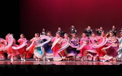 Members of Nuestras Raíces dance to traditional Mexican sones performed by Mariachi Los Reyes in ECC's Marsee Auditorium, Friday, Sept. 13. David Alonso/The Union