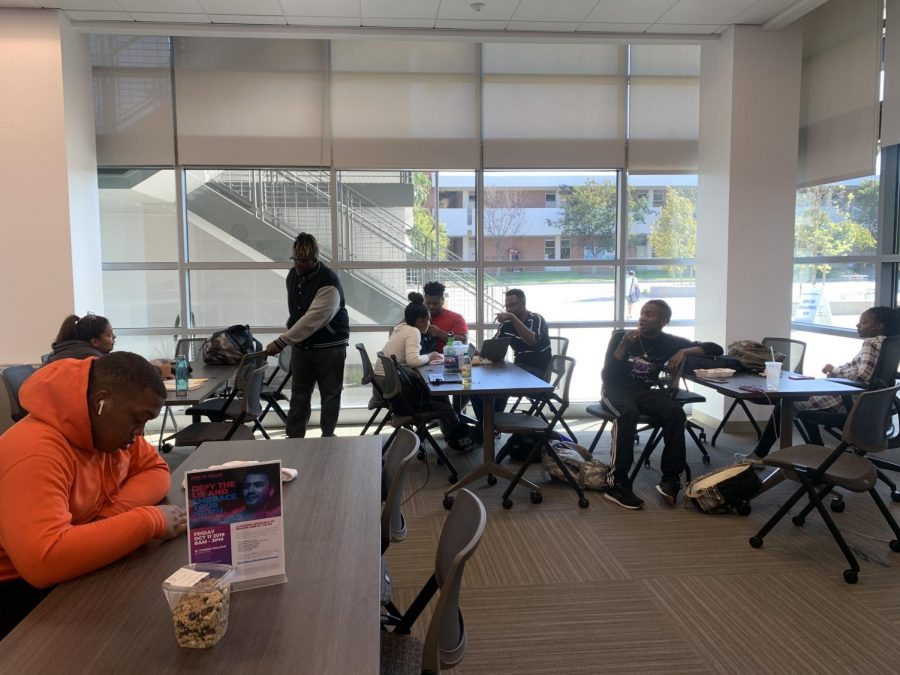 El Camino College students sit in the Student Equity & Achievement Village study lounge Thursday, Oct. 3. The Student Equity Program will be hosting the Men of Color Conference on Friday, Oct. 11 to offer an opportunity for men of color to heal. Diamond Brown/The Union
