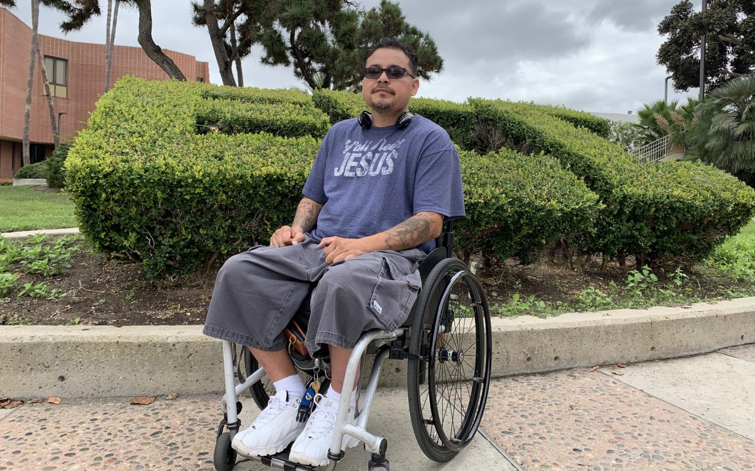 David Nieto poses for a picture outside the Bookstore at El Camino College on Thursday, Sept. 26. As a third-year student, he has maintained a 4.0 G.P.A while experiencing food and housing insecurities that have forced him to live in his car for a few months last year. Jose Tobar/The Union