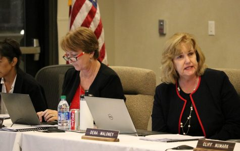 President and Superintendent Dena Maloney talks about the El Camino College nursing program at a Board of Trustees meeting Monday, Oct. 21. The board unanimously approved a $161,075 grant that would help and expand nursing programs on campus. Omar Rashad/The Union