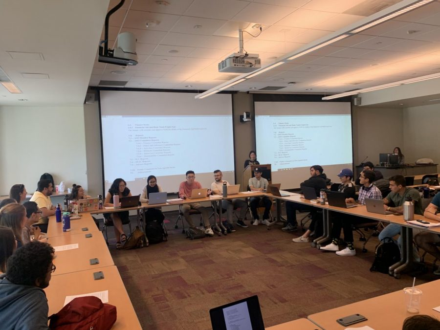 Associated Student Organization (ASO) committee members discuss agenda items in the Distance Education Room on Thursday, Oct. 24. Senate members talked about moving their offices to the Manhattan Beach Boulevard Modules. Photo credit: Diamond Brown