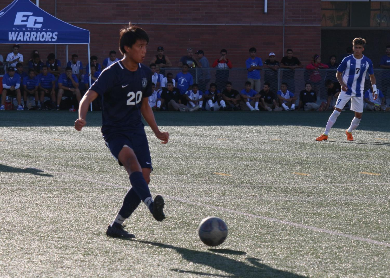 El Camino College midfielder Matthew Villongco makes a pass during a match against Cerritos College Friday, Oct.11, at the PE and Athletics Field. Villongco has one assist on the year for the Warriors. Viridiana Flores/ The Union