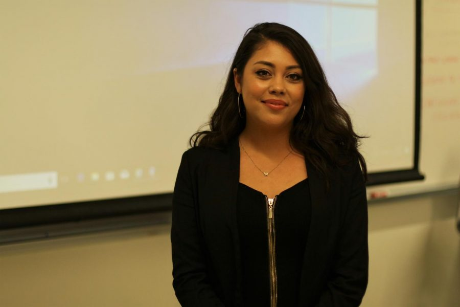 "Michelle Segura, coordinator of the Dream Resource Center at LA Trade Tech, after giving a presentation about entrepreneurship and the business world design for undocumented students at the ""Undocu-Entrepreneur"" workshop at the Industry and Technology Building in El Camino College on Oct.14 from 1-2 p.m. Segura is also a DACA beneficiary studying marketing and has helped DACA students since 2011. Viridiana Flores/The Union"