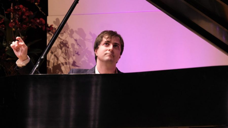 Kenneth Borberg performs another song after receiving a standing ovation from the audience Friday, Oct. 11  during his performance at El Camino College's Marsee Auditorium. Broberg performed works by Bach, Beethoven, Chopin and more. David Odusanya/The Union