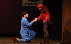El  Camino College student Tim Avila, left, proposes to Gayle, played by Alexa Ocampo during opening day of Almost, Maine on Thursday, Oct. 10, at the Campus Theatre. The play features nine short but connected love stories. Mari Inagaki/The Union