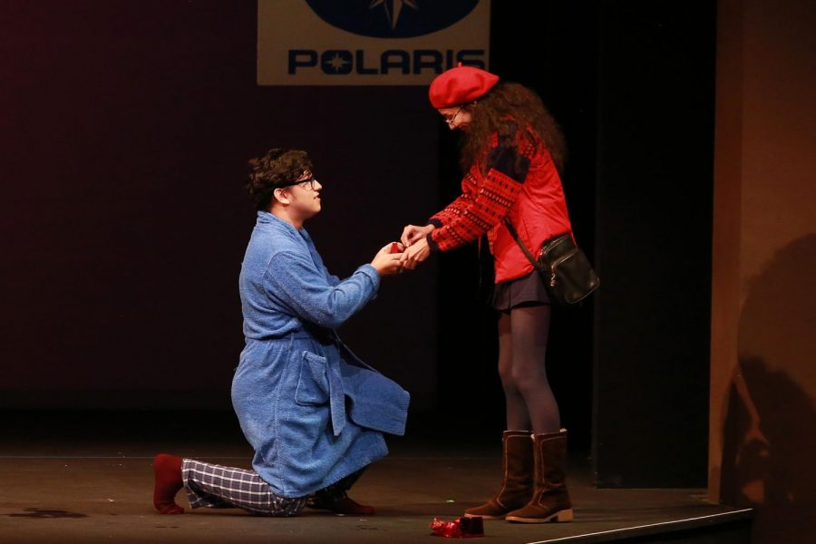 El  Camino College student Tim Avila, left, proposes to Gayle, played by Alexa Ocampo during opening day of