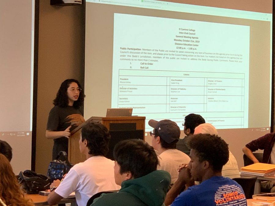 Inter-Club Council President Alyssa Eckley discusses the minutes on the agenda, which include the homecoming dance and club mixer, during an Inter-Club Council meeting Monday, Oct. 22 at the Distance Education Center. There were no new updates on the homecoming dance during the meeting.