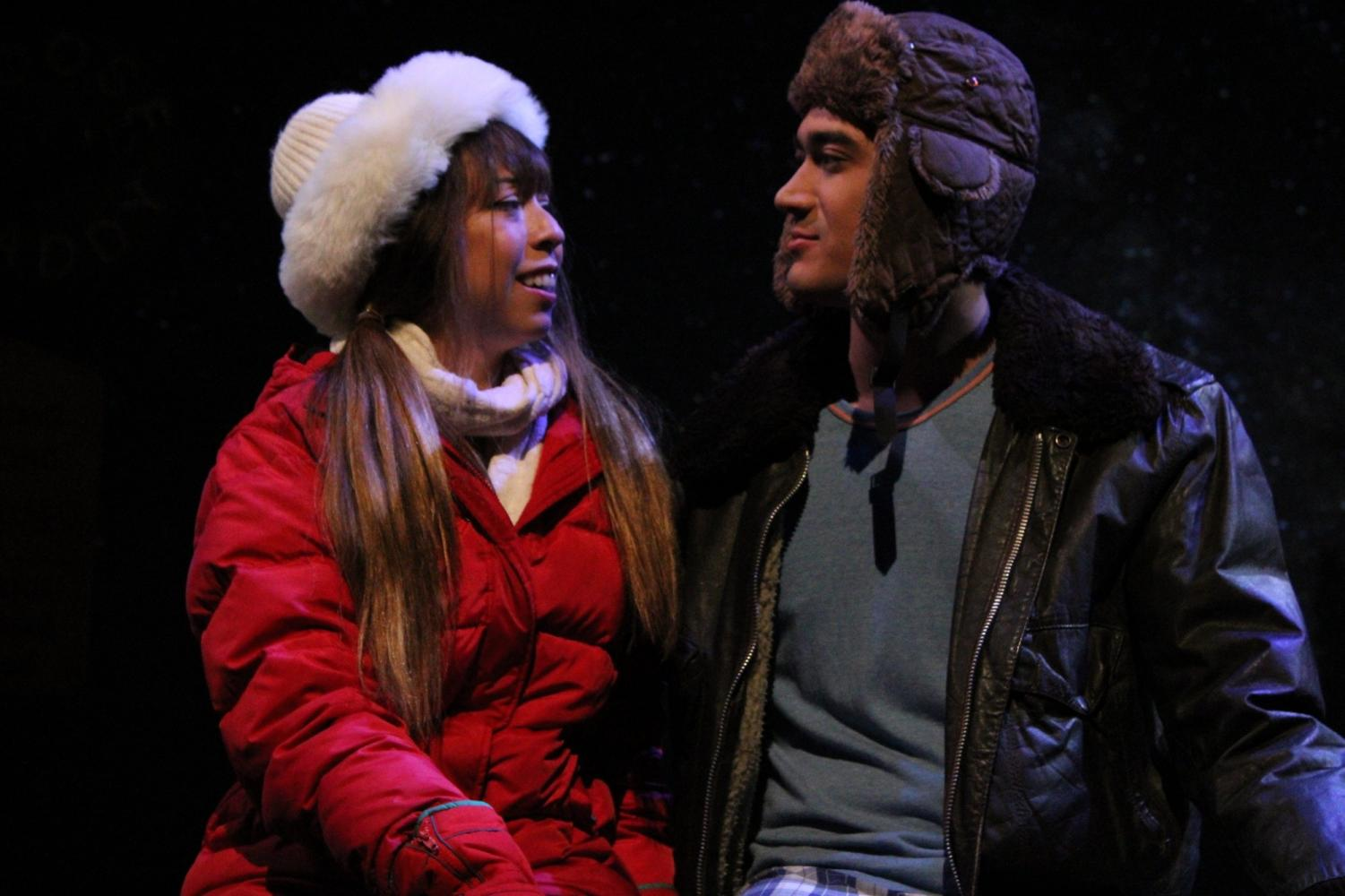 Therese Rico, (left) who plays a woman named Glory locks eyes with Daichi Marian during a  rehearsal of Almost, Maine on Monday, Oct. 7.  The romantic comedy is divided into nine short but connected plays. Jaime Solis/The Union