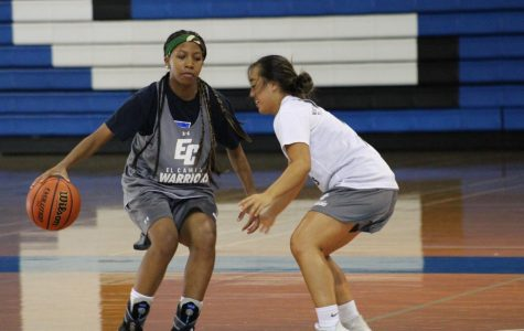 El Camino College basketball player Alexia Mason performs a behind the back dribble move on point guard Ashley Nguyen during practice on Tuesday, Oct. 8. Only three players will be returning from last year's team. Jaime Solis/The Union