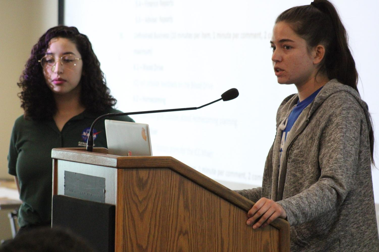 Inter-Club Council Director of Activities Makayla Propst (right) questions whether a dance is really the best way to satisfy and attract a larger, more complete part of the El Camino College student population with the funds allotted for a homecoming dance during an Inter-Club Council meeting Monday, Oct. 28 in the Distance Education Center. With it being three weeks prior to the set date for the homecoming dance, the Inter-Club Council has yet to produce a budget detailing how $4,500 allotted for homecoming expenses will be spent. Jaime Solis/The Union