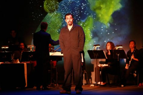 "Anthony Moreno, the lead actor of ""The Janitor"", sings about the Big Bang theory during the new comic opera on Saturday, Sept. 28 at the El Camino Campus Theatre. Mari Inagaki/The Union"