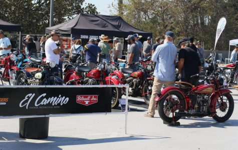 People gather around the upper level of El Camino College's Parking Lot F for the 42nd El Camino Vintage Motorcycle Show and Swap Meet on Saturday. The event was hosted by Topping Events in association with Classic Cycle Events. Viridiana Flores/The Union