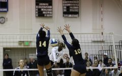 El Camino College women's volleyball outside hitter Mikayla Clark spikes the ball against the Fullerton College defense during the third set of their match on Tuesday, Nov. 26 in ECC's South Gym. The Warriors came back after losing the first two sets to advance in the regional playoffs. Jaime Solis/The Union