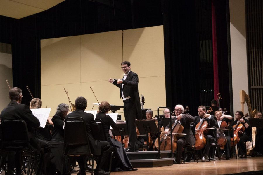 Geoffrey Pope leading his orchestra during the Beach Cities Symphony on Friday, Nov. 8 at El Camino College's Marsee Auditorium. Pope conducted pieces such as  Gioachino Rossini's