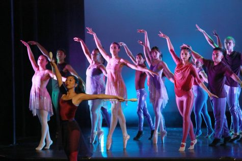 "Dancers perform a choreography called ""Pointed Ribbons"" during El Camino College"