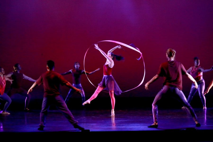 "Dancers perform ""Pointed Ribbons"" during El Camino College"