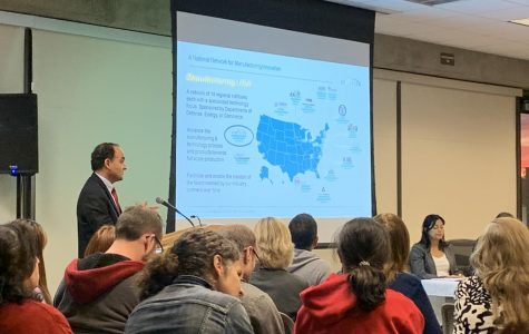 Dean of Community Advancement Jose Anaya gives a presentation about a new partnership with national research institute NextFlex on Monday, Nov. 18. The partnership, which is set to launch in Spring 2020, will aim to inspire young people to pursue careers in technology. Giselle Morales/The Union