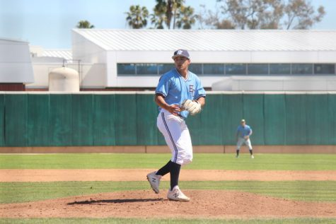 El Camino College pitcher and designated hitter Aaron Orozco follows through after delivering a pitch to a Pasadena City College hitter during the game against PCC on Saturday, March 16 at Warrior Field. Orozco led the South Coast Conference in strikeouts with 114. Kealoha Noguchi/The Union